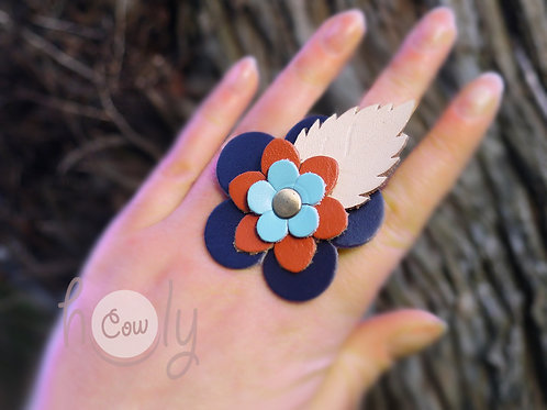 Adjustable Flower Power Leather Ring