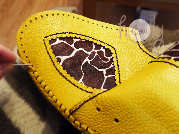 Handmade Yellow Leather Moccasin Boots With Giraffe Print