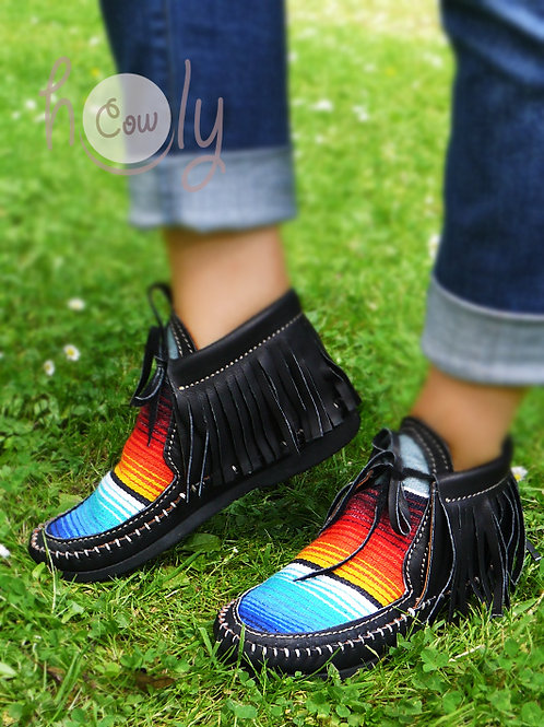 Black Leather Serape Moccasins