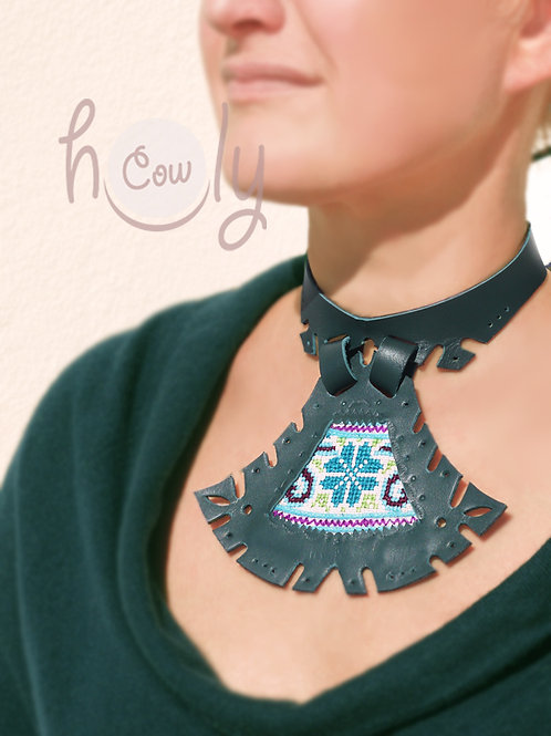 Tribal Green Leather Choker Necklace