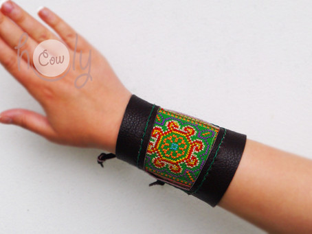 Handmade Brown Leather Bracelet With Green Hmong Vintage Fabric