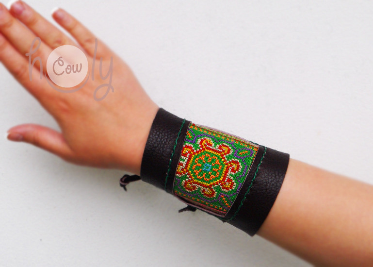 Handmade Brown Leather Hmong Bracelet With Green Hmong Vintage Fabric