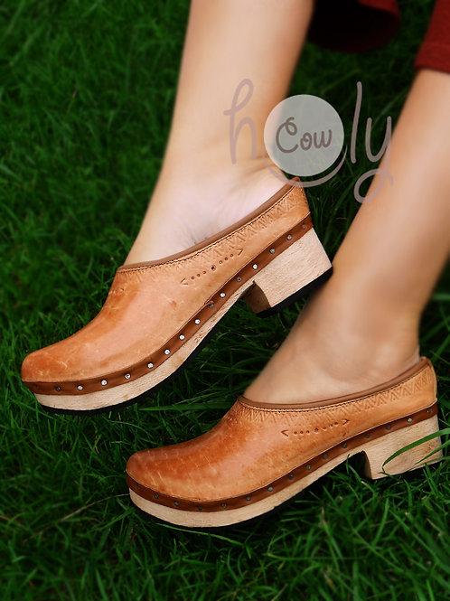 Boho Tribal Leather Clogs