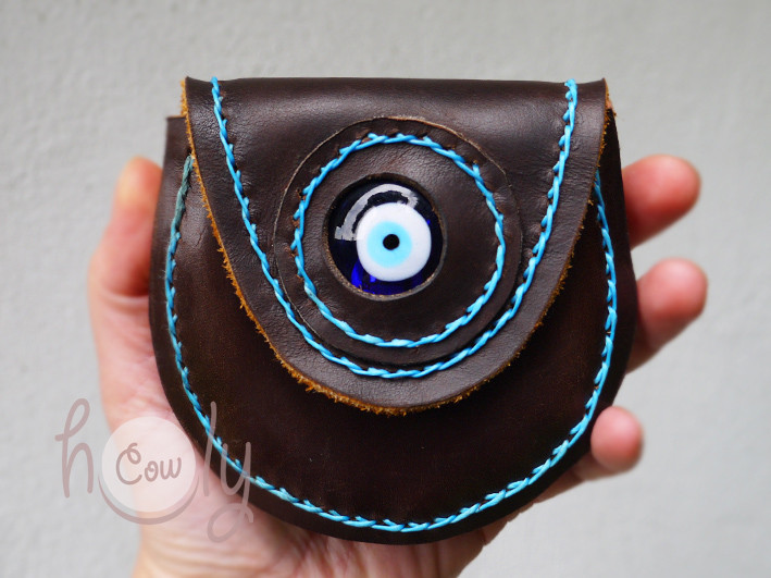 Handmade Leather Coin Wallet With Evil Eye