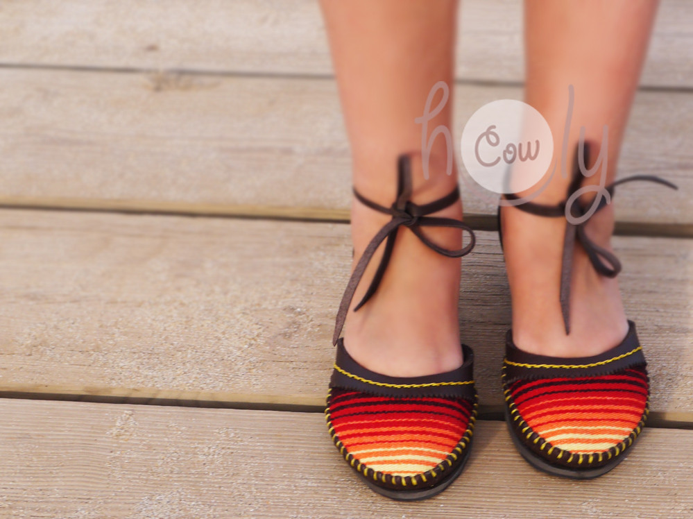 Hand Stitched Brown Leather Serape Sandals