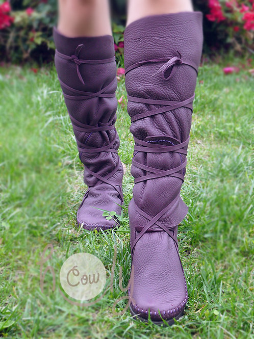 Knee High Purple Leather Boots
