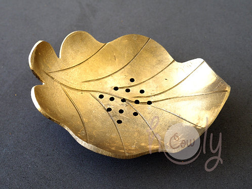 Gold Coconut Shell Leaf Soap Dish
