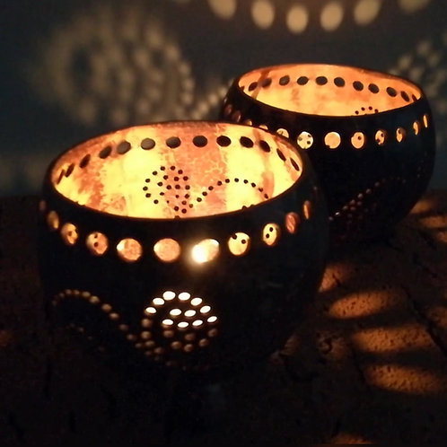 Coconut Shell Candle Holders