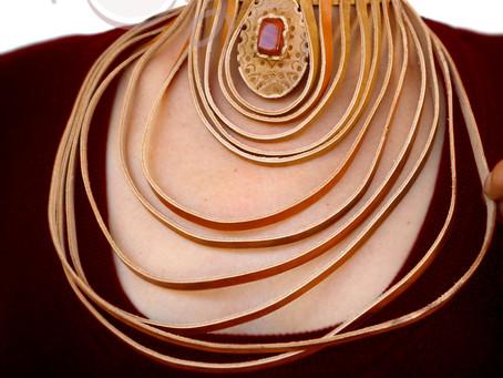 New Handmade Large Leather Choker Necklace With Gemstone