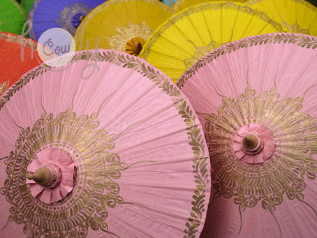 Shine This Autumn With Our Beautiful Hand Painted Bamboo Waterproof Umbrellas