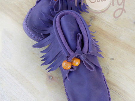 New Purple Leather Sole Less Moccasins!