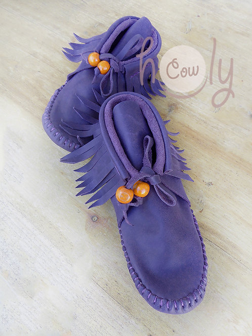Purple Leather Sole Less Moccasins