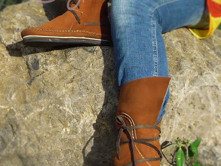 Happy Hippie Vibes With Our New Brown Leather Moccs! :)
