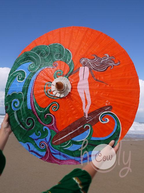 Hand Painted Surfer On Waterproof Parasol