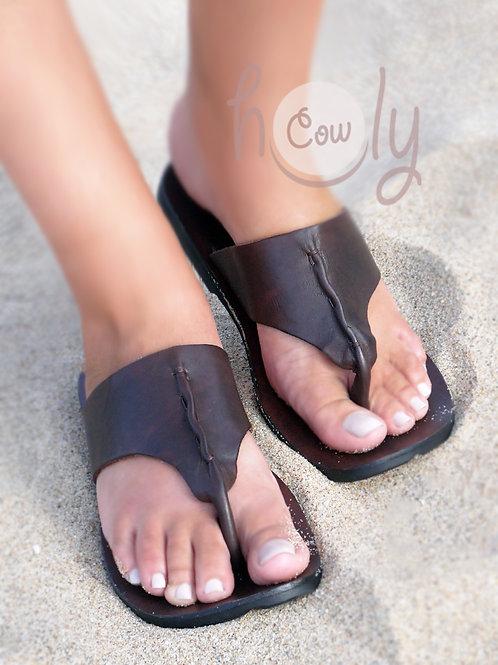 Handmade Dark Brown Leather Sandals