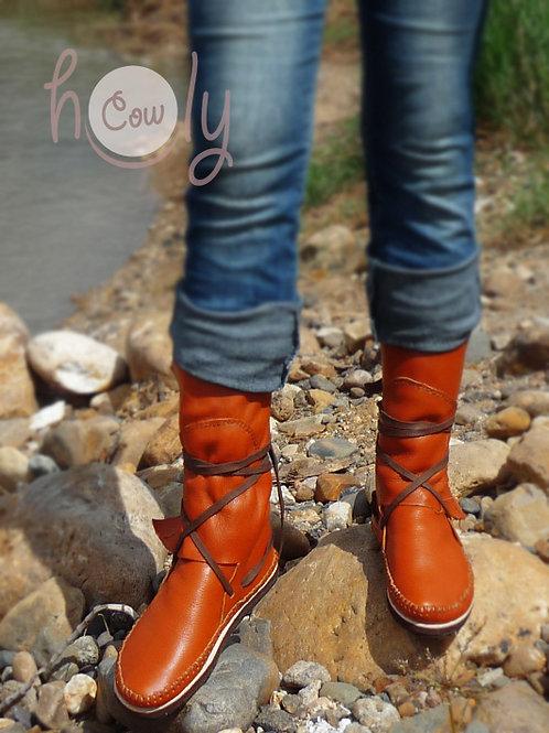 Hippie Orange Leather Moccasins