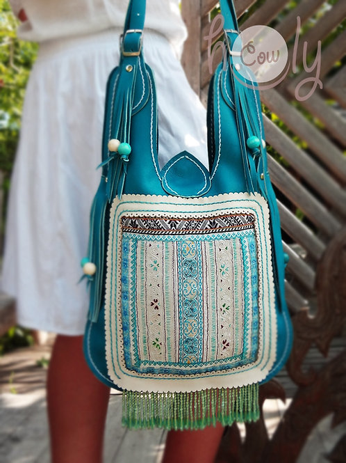 Unique Turquoise Leather Tribal Bag