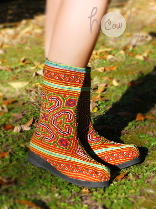 Boho Orange Tribal Vegan Boots