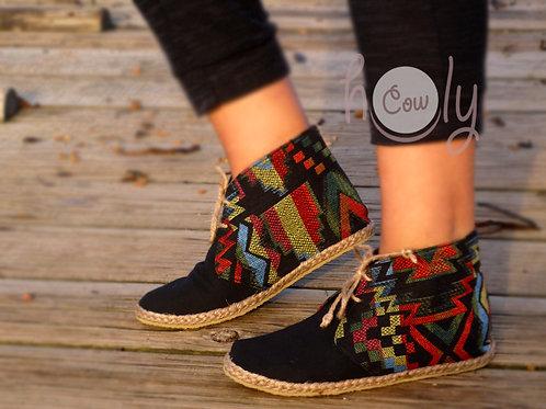 Black Tribal Vegan Ankle Boots