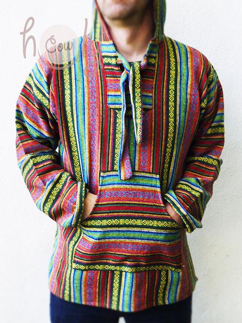 Mens Hippie Hoodie / Baja / Poncho