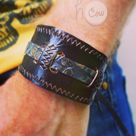 Handmade Leather Bracelet With Blue Leather Snake Print