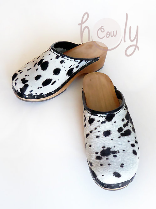 Black And White Hairy Cowhide Leather Clogs