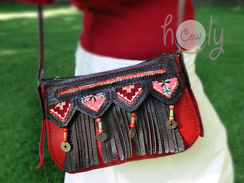 Brown And Red Leather Tribal Bag