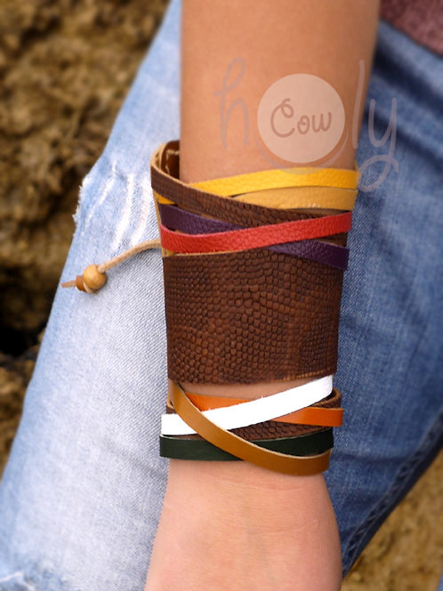 Leather Snake Print Multicolored Bracelet