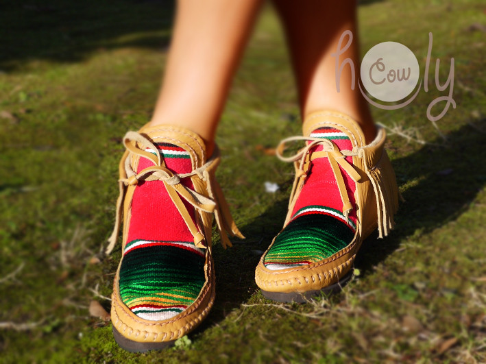Funky Leather Serape Moccasin Boots
