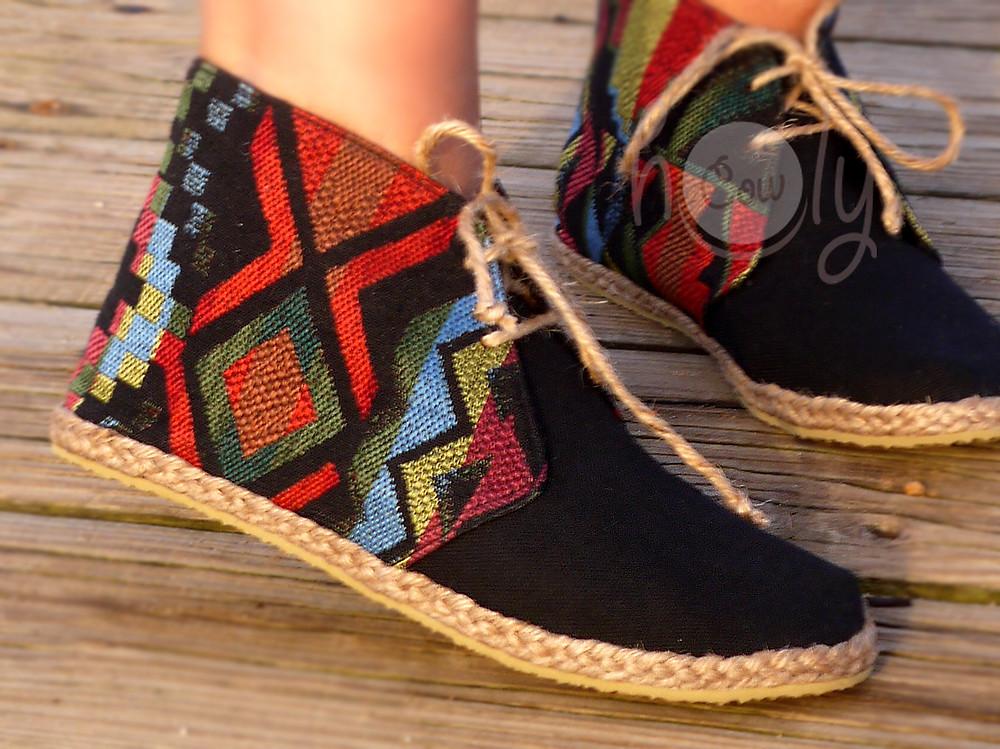 Unique Ethnic Textile Vegan Ankle Boots