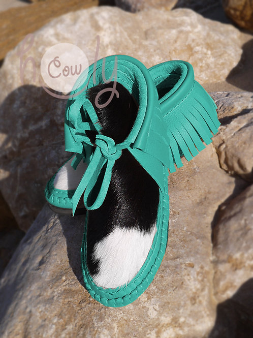 Hand Stitched Turquoise Leather Boots