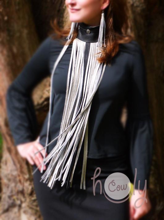 New Amazing Silver & Black Leather Long Fringe Choker Necklace