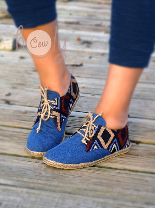 Blue Funky Tribal Vegan Shoes
