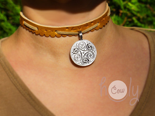Necklace With Triple Spiral Symbol