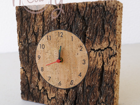 Small Square Natural Eco Friendly Cork Clock