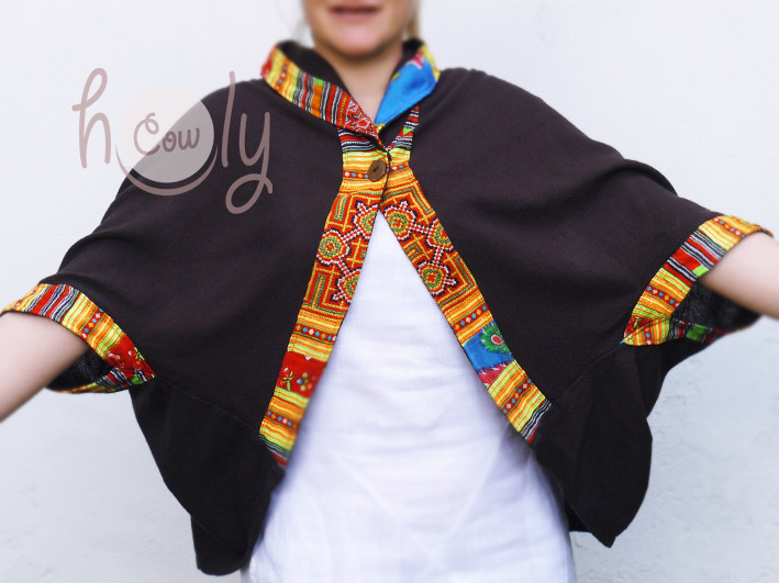 Women's Brown Cotton Short Jacket With Hmong Embroidery