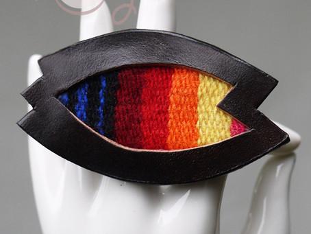 Handmade Adjustable Large Leather Serape Ring