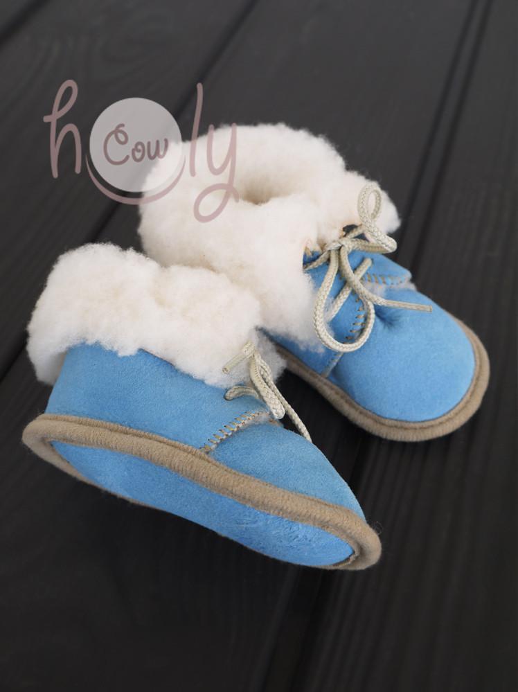 Handmade Blue Sheepskin Baby Boots