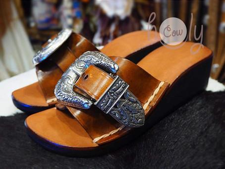 Hand Stitched Adjustable Brown Leather Buckle Platform Sandals