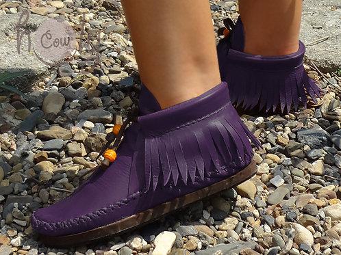 Funky Purple Leather Inca Boots