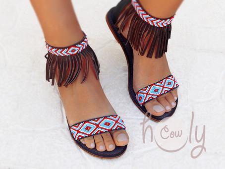 New handmade beaded leather sandals