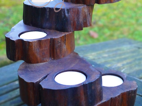 New Beautiful Hand Carved Wooden Candle Holder Set