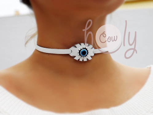White Leather Necklace With Evil Eye