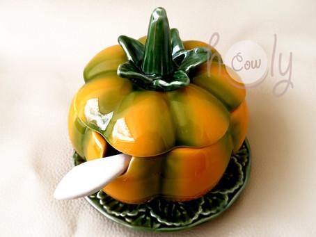 Handmade Ceramic Pumpkin Bowl With Spoon on Leaf Plate