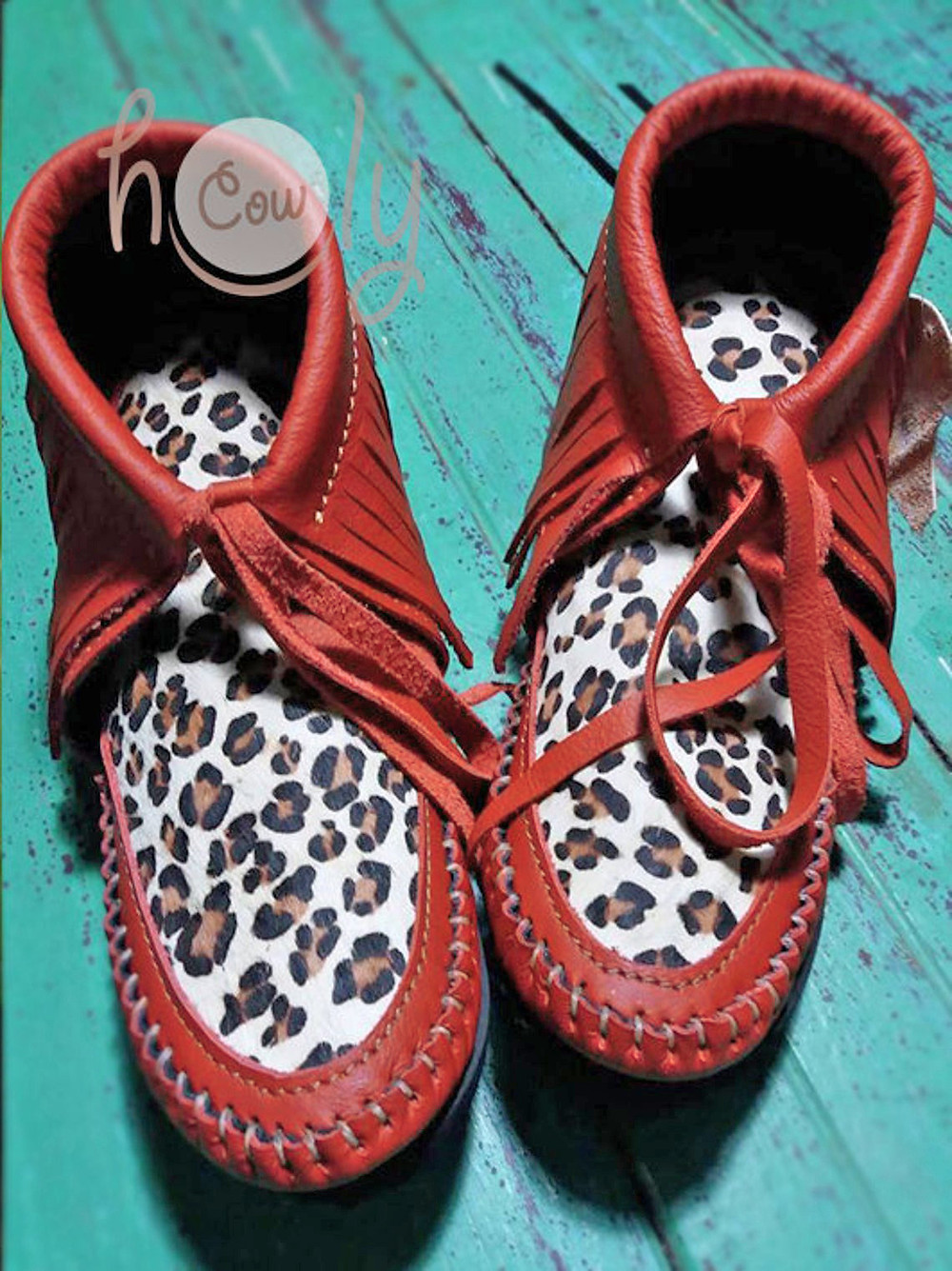Red Leather Boots With Leopard Print