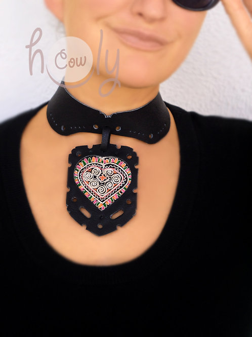 Black Necklace With Vintage Tribal Fabric