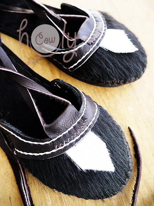 Brown Leather Sandals With Hairy Cowhide