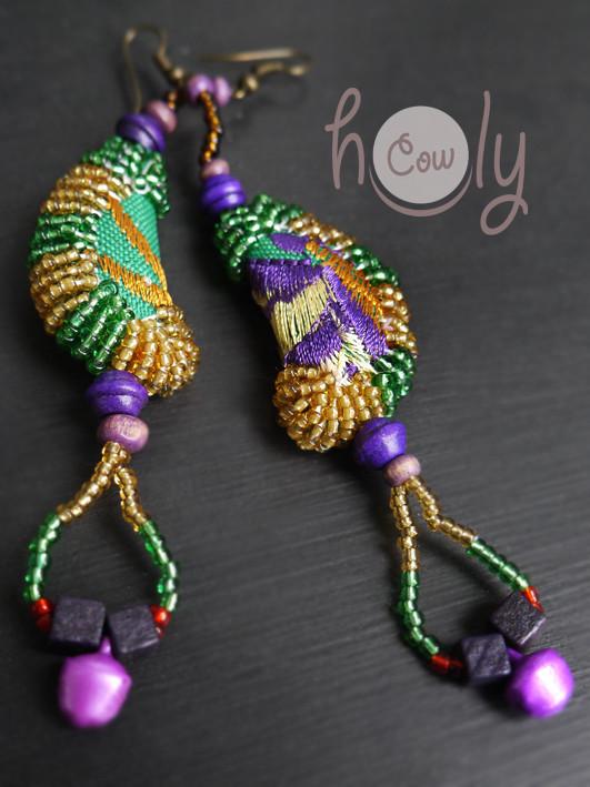Amazing Handmade Purple & Green Tribal Boho Chic Earrings