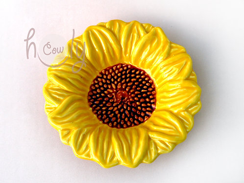 Handmade Small Ceramic Sunflower Dish
