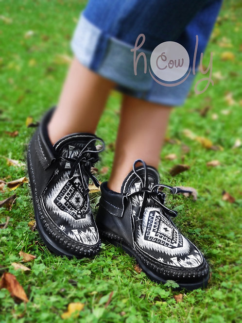 Black Leather Native American Moccasins